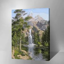 oil paint painting by numbers diy picture waterfall drawing on canvas oil painting by hand coloring landscape inner wood frame in painting calligraphy