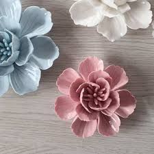 porcelain flower wall decor inspirational 1pcs blue ceramic tlower three dimensional decoration wall