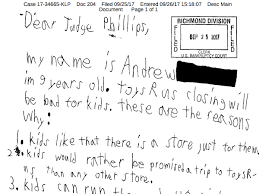 a 9 year old wrote the toys r us bankruptcy judge a letter to explain why closing the chain will be bad for kids