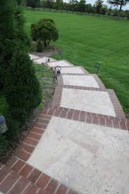Easy way to re-do the concrete walk. Brick inlay sidewalk idea for front  service walk and steps!