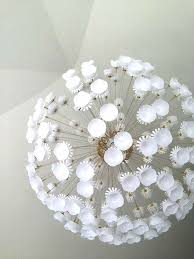 light fixture ikea flower sputnik add tiny white plastic cups and trim down the flowers on the light to create a stunning modern looking chandelier