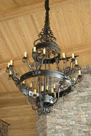 small spaces wood and metal chandelier