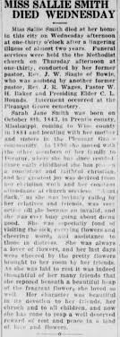 """Sally Jane """"Sallie"""" Smith obituary in the Wise County Messenger (Decatur,  Texas) - Newspapers.com"""