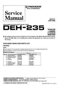 pioneer deh 235 wiring diagram pioneer discover your wiring pioneer deh235 high power cd player service manual pdf