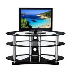 china glass tv stands with 3 tiers glass top and aluminum legs