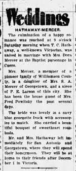 Dora Hazel Mercer marriage to Thomas C. Hathaway. - Newspapers.com