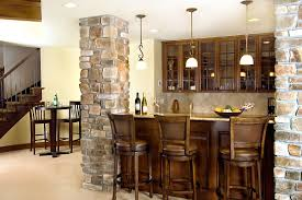 decoration: Home Basement Bar Design Idea With Wooden Bar Table And Three  Stools Units Between