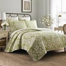 laura ashley rowland 3 piece green king quilt set