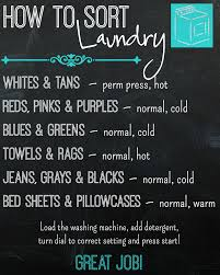Free Printable How To Sort Laundry Chart Laundry Sorting