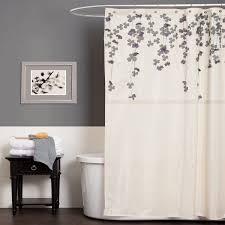 Purple Bathroom Bin Gray And Blue Shower Curtain