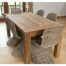reclaimed teak natural 6 seater dining table 6 zorro chairs