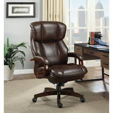 elegant frys brown leather swivel office chairs with arms and brown wooden legs design