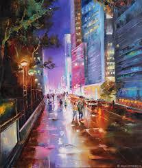landscapes handmade livemaster handmade oil painting night city lights night