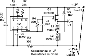 circuit diagram for a low power 12v lead acid battery desulfator
