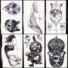 черный дракон временная тату наклейка для для женщин хамса задняя тату для мужчин