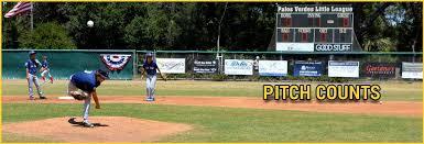 2018 Little League Pitch Count Chart Pitch Counts Palos Verdes Little League