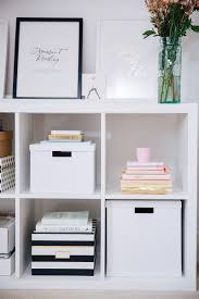 home office items. IKEA Shelving Unit Styled With Pretty Office Items | The Elgin Avenue Blog Home