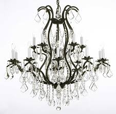 glamorous iron and crystal chandeliers wrought iron chandelier black iron with crystal and white