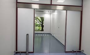 building glass door. stainless steel finished hinges glass cleanroom doors building door