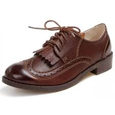 brown leather tassels fringes lace up vintage womens oxfords flats shoes 800x800 jpg