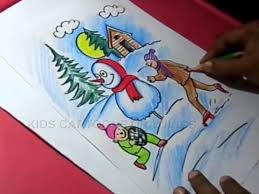 Chart On Winter Season How To Draw Winter Season Color Drawing Step By Step