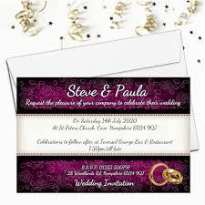 Black And Purple Invitations 10 Personalised Black Purple Floral Wedding Invitations Day Evening N65