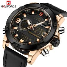 NAVIFORCE <b>Luxury Brand Men</b> Sport Watches <b>Men's</b> Leather ...