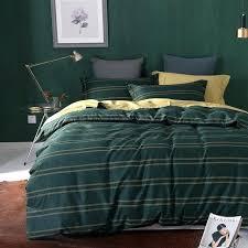 dark olive green duvet cover stripes print bedding set cotton fabric queen king size pillowcase
