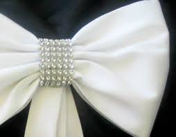 Tulle Fabric Wedding Decorations Pew Bows With Rhinestones Set Of 4 Pew Bows Elegant Pew Bows
