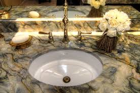 undermount rectangular bathroom sink. Artistic Grey Marble Counter Top On Brown Wooden Bath Vanity Also White Undermount Rectangular Bathroom Sink