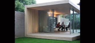 home office in the garden. Large Sliding Glass Doors And Link To Home Office Garden Room In The