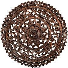 It's transitional style complements most any interior. Amazon Com Medallion Tropical Bali Floral Wood Carved Wall Art Plaque Round Lotus Flower Rustic Home Decor 24 Brown Home Kitchen