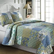 5pc Country Cottage Floral Paisley Blue Green Cotton Quilt Set w ... & Country Cottage Floral Paisley Blue Green Cotton 3 piece Reversible Quilt  and Shams Set. Awesome Cozy bedding set for a French Country or Vintage  bedroom ... Adamdwight.com