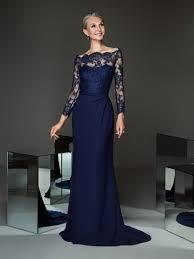 <b>Navy</b> Blue Evening Gown <b>Off The Shoulder</b> | Pronovias