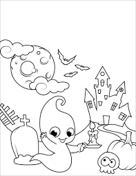 Halloween Scene With A Cute Ghost Coloring Page Free Printable