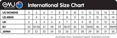 Emu Australia Sheepskin Boots Size Chart