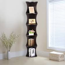 Rounded Corner Shelves Yaheetech 100 Tier Wood Round Wall Corner Shelf Slim Bookshelf 73