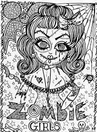 Coloriage Adulte Halloween Fille Zombie Dessin