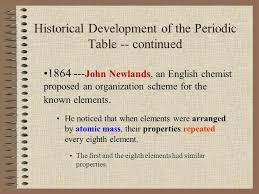 The. Historical Development of the Periodic Table 1790's ...