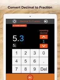 fraction calculator decimals on the app