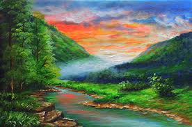 Mountainside River Painting by Bernie jay Antiquando