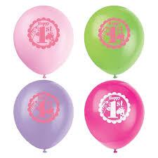 Unique Pink Safari 1st Birthday Balloons 8 Pk