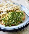 chicken with parsley and pistachio pesto over pasta