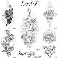 Baofuli эскиз геометрический ромб роза татуировка временная подделка цветок цепь