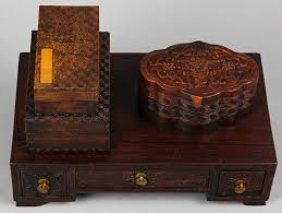 chinese wood box and small desk