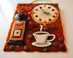 brown fused glass clock coffee wall art