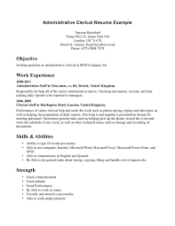Clerical Resumes Examples Examples Of Resumes