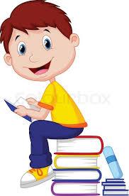 vector ilration of boy cartoon reading book stock vector colourbox
