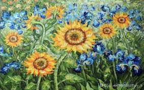 2018 van gogh golden sunflower blue iris garden handpainted still life fl art oil painting on high quality canvas size can customized from
