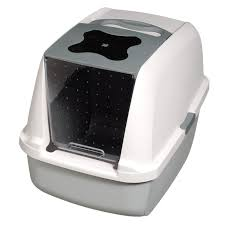 image covered cat litter. Catit Deluxe Hooded Cat Pan Set Grey/White Litter Tray With Lid Image Covered I